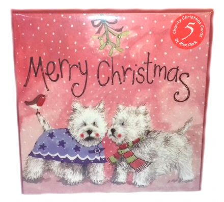 Alex Clark Pack of 5 Charity Christmas Cards with a Westie Wonderland design